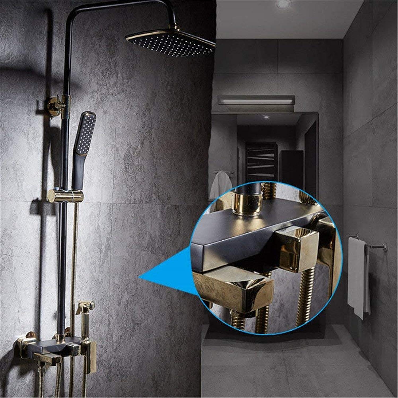 Europische Schwarz voller Kupfer Badewanne Dusche dusche Dusche mit Hebevorrichtung an der Wand Duschkopf handheld Sprinkler retro Duschsystem Armatur eingestellt
