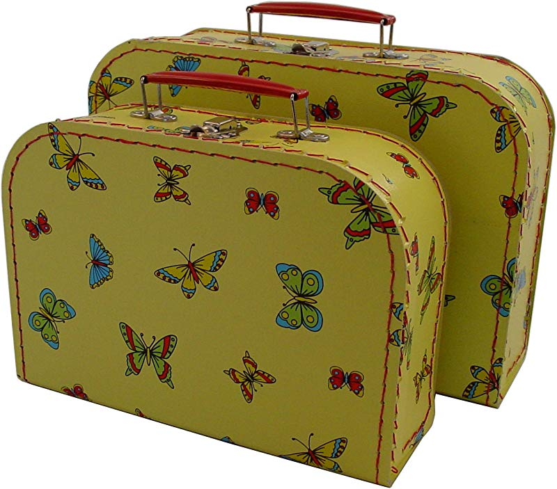 KidSTYLE Cargo Vintage Travelers Mini Suitcases Set Of 3 Butterfly Print