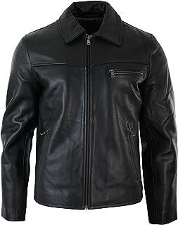 c91487f881b90 Veste Homme Cuir Doux véritable Noir Marron Style Classique Fermeture  Jusqu'au col
