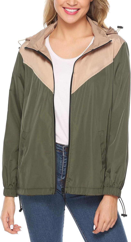 IClosam Women Raincoats Waterproof Lightweight Rain Jacket Active Outdoor Hooded Trench Coat