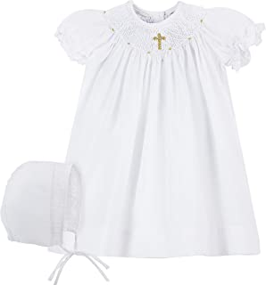 white smocked dress with cross