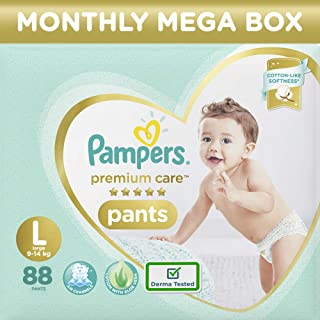 Pampers Premium Care Pants, Large size baby diapers (LG), 88 Count, Softest ever Pampers pants