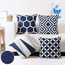 Modern Homes 100% Cotton Dark Blue Cushion Covers 18x18 inches Cushion Cases for Sofa, Bed; Decorative Throw Pillow Covers...