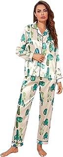 Milumia - Conjunto de pijama para mujer, 2 piezas, estampado de cactus, manga larga y pantalones de satén