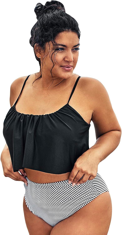 CUPSHE Women's Plus Size Bikini Set Ruffeld Adjustable High Waisted Swimsuit