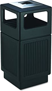 Safco Products Canmeleon Outdoor/Indoor Recessed Panel Trash Can with Ash Urn 9477BL, Black, Decorative Fluted Panels, Stainless Steel Ashtray, 38 Gallon Capacity