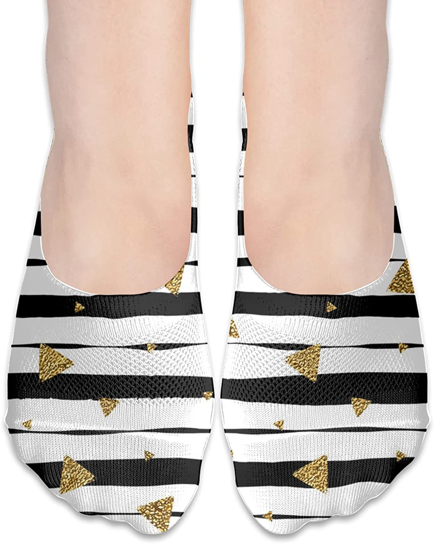 No Show Socks Women Men For Gold Glitter Triangle Flats Cotton Ultra Low Cut Liner Socks Non Slip