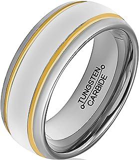 HSG خواتم التنجستين للرجال 8 مم خاتم الخطوبة 18K الذهب الطلاء جروفس مصقول الزفاف