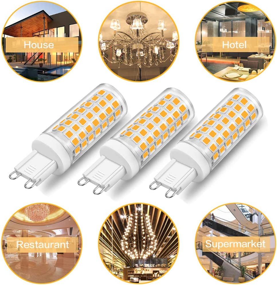2700K Warm White 4.5w Led Bulbs Replacement 35W 40W 50W Halogen Light Bulb Led G9 Dimmable Bulbs 465lm 360 Deg LED Bulbs for Chandelier Pendant Ceiling Lighting Pack of 10