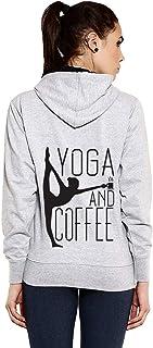 Goodtry G Women's Cotton Hoodies Back Print -Yoga-Grey Melange