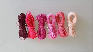 Genérico Mix Rosen Pink Thread Waxed 1mm, 6 Packs of 5 Meters per Color Nylon Bracelets Beads Macrame Thread Waxed Polyester Cord Thread Macrame