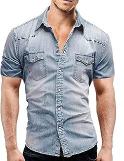 c143867a876 MEIbax Camisa Vaquera de Color Liso para Hombre Top de Manga Corta para  Hombre de Verano