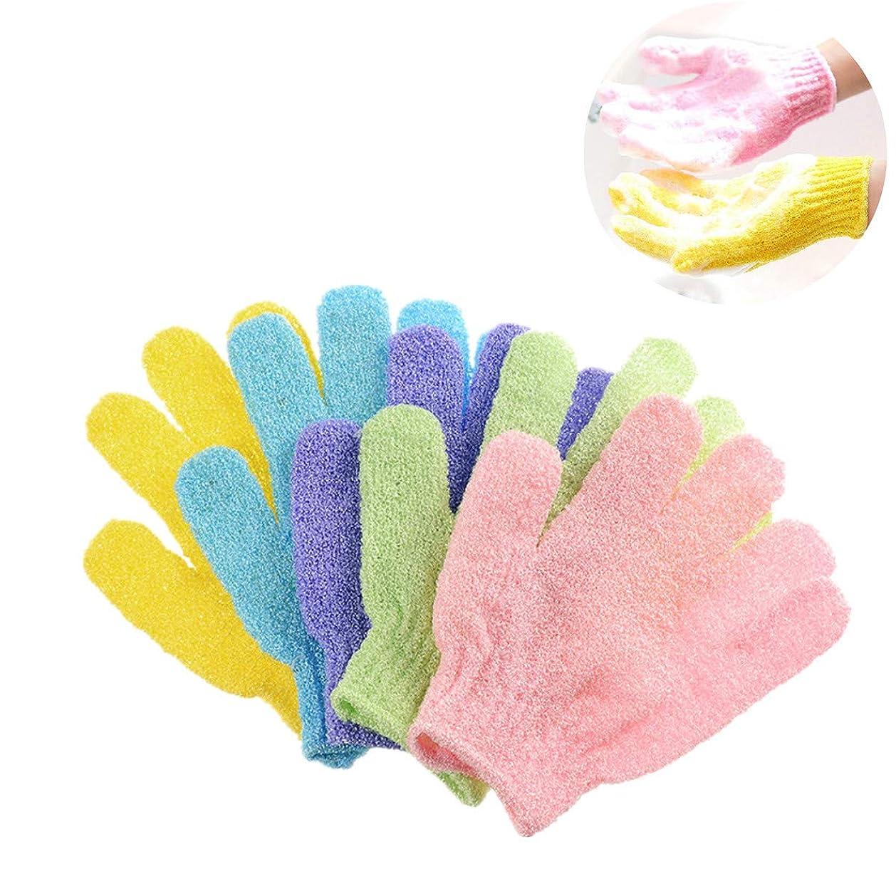 Kingsie 浴用手袋 10枚セット(5ペア) ボディウォッシュ手袋 お風呂手袋 角質除去 角質取り 泡立ち 垢すり グローブ