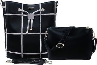 TYPIFY Women's Shoulder Bag With Sling Bag (Set of 2) (TY-TBAG362_Black)