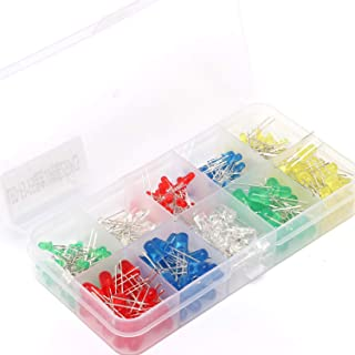 GZCRDZ 250pcs 3mm 5mm RGB 2pin Round Assorted LED Light Emitting Diode Multicolor White Red Green Yellow Blue DIY Set Box ...