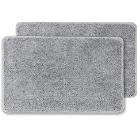 Indoor Doormat Front Door Mat Non Slip Rubber Backing Super Absorbent Mud and Snow Magic Inside Dirts Trapper Mats Entrance Door Rug Shoes Scraper Machine Washable-Light Grey 24 x 36
