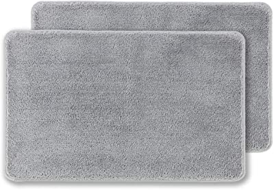 """Indoor Doormat Super Absorbent Mud and Water Low-Profile Mats Machine Washable Non Slip Rubber Entrance Rug for Front Door Inside Dirt Trapper Mats Shoes Scraper, 55% cotton + 45% microfiber,backing material: TPR Thermoplastic rubber., Grey 2 Pack, 20""""x 31.5"""""""