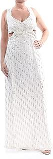 $350 1702 Ivory Glitter Cut Out Geometric Fray Body Con Dress 12 B+B