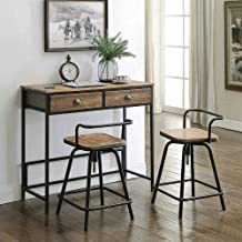 4D Concepts Urban Loft Breakfast Table with Two Swivel Stools, Rustic Natural Pine