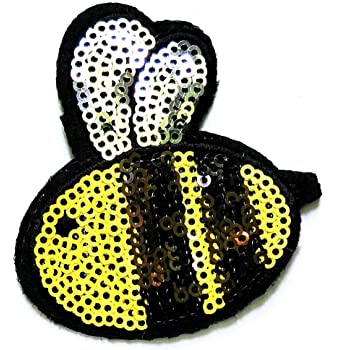 Iron on Sewing Patch Embroidered Emblem Cloth Applique Flying Yellow Honey Bee