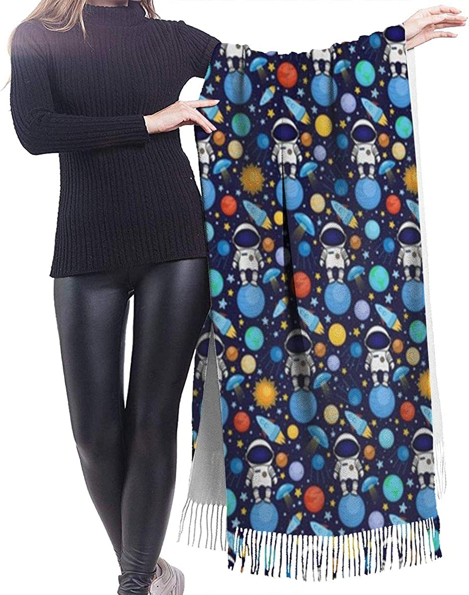 Astronauts Blue Space Cashmere Shawl Wrap Scarf Large Warm Scarf For Women