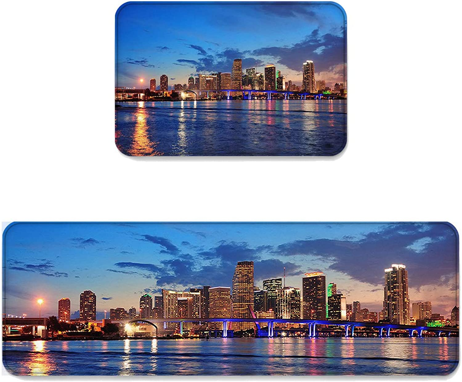 Kitchen Rug Sets 2 Piece Floor Mats Non-Slip Rubber Backing Area Rugs Miami Sea and City Night Scenes in The Evening Doormat Washable Carpet Inside Door Mat Pad Sets (23.6  x 35.4 +23.6  x 70.9 )