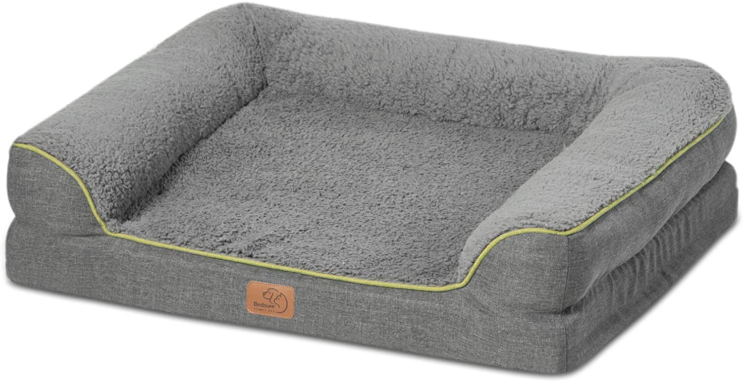 Bedsure Orthopedic Dog Beds for Medium Dogs - Memory Foam Waterproof Dog Bed Medium Washable Pet Sofa Beds with Removable Cover & Waterproof Liner, 7 inches Height Couch for Medium Dogs up to 50 lbs