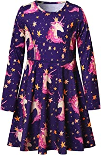 QPANCY Girls Long Sleeve Dresses for Kids Unicorn Clothes Cotton Outfits