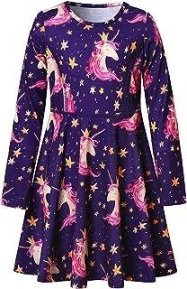 QPANCY Girls Long Sleeve Dresses Kids Unicorn Clothes Cotton Outfits