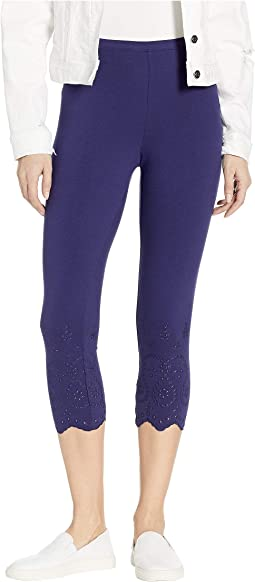 Eyelet Trim Cotton Capri Leggings