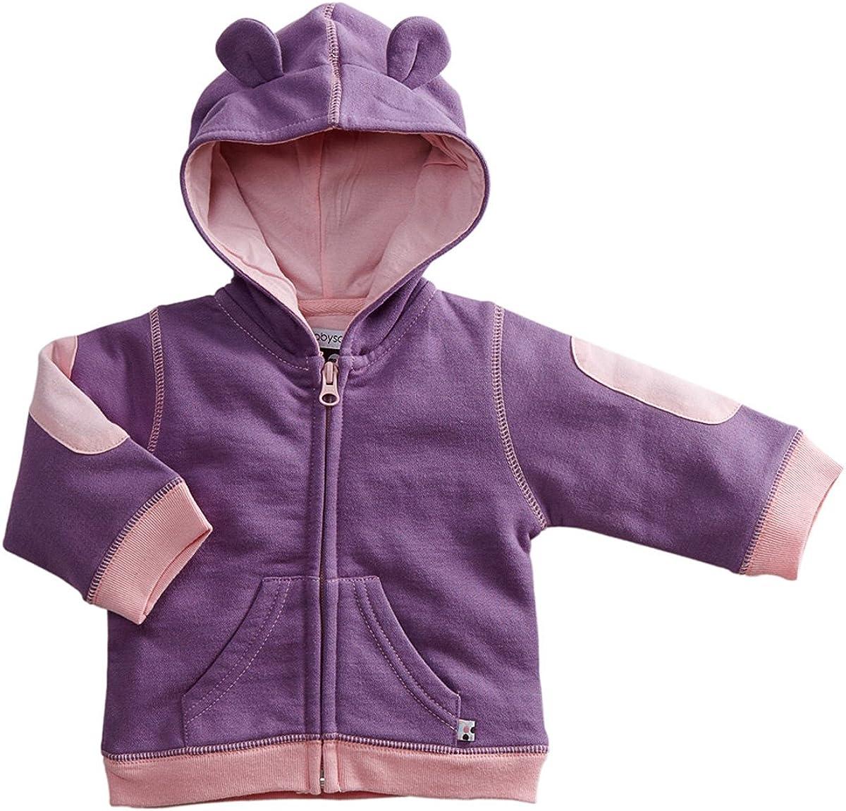 Babysoy Bunny Ears Fleece Hoodie Jacket (6-12 Months, Eggplant)
