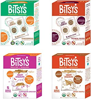 Bitsy's Organic Cookies and Crackers | Tree Nut and Peanut Free | Vitamin and Mineral Filled Snacks for Kids - 4 Pack Variety