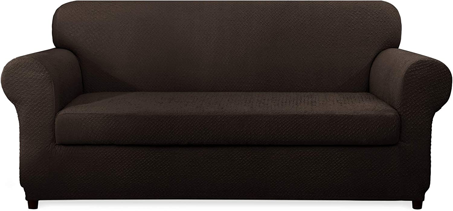 CHUN YI 2-Piece Covers Seersucker Jacquard Polyester Spandex Fabric Stretch Tough Couch Slipcovers (Sofa, Brown)