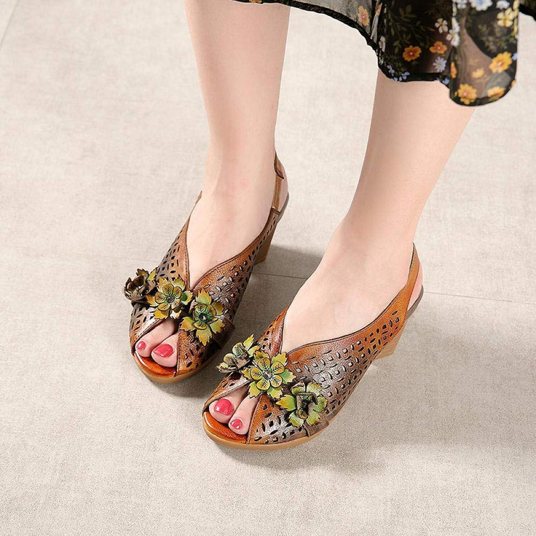 damen High Heel Sandals schuhe for Spring Summer Leather Casual Comfort Sandals Vintage Handmade Flower Flat Walking Anti Slip Ladies Dress schuhe
