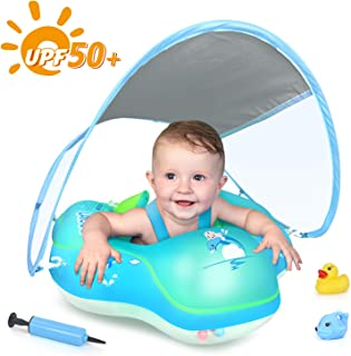 LAYCOL Baby Swimming Float Inflatable Baby Pool Float Ring Newest with Sun Protection Canopy,add Tail no flip Over for Age of 3-36 Months �