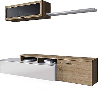 Habitdesign - Mueble de salón Comedor Moderno Medidas: 200x41/34x43 cm de Alto (Blanco Brillo y Roble Canadian)