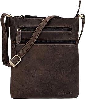 """STILORD Juna"""" Damen Umhängetasche Leder Handtasche Vintage Damentasche Ausgehtasche für 9,7 Zoll Tablets und iPad Echtleder"""
