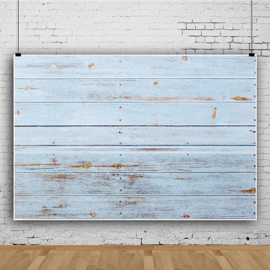 OERJU 8x6ft Vintage Blue Wood Board Backdrop Retro Texture Plank Photography Background Rustic Theme Baby Shower Cake Table Banners Kids Birthday Party Decor Kids Adults Portrait Photo Props