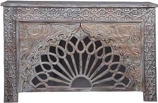 Consola oriental estrecha Ghazal gris 150 cm | Mesa consola oriental vintage tallada a mano | Aparador rústico de madera m...