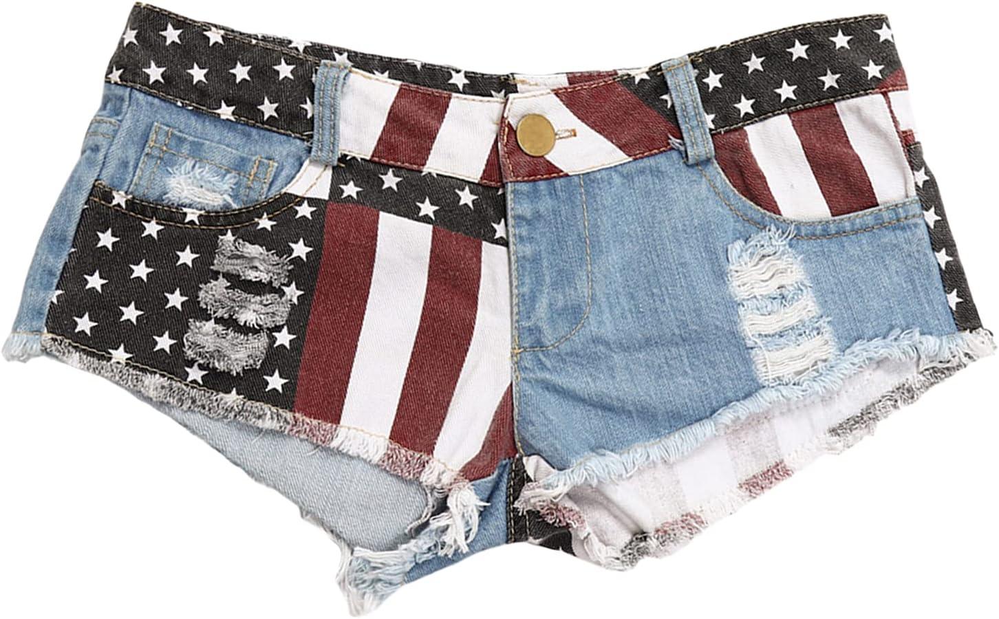 Women's Low-Rise Denim Shorts American Flag Print Raw Hem Mini Short Summer Ripped Vintage Micro Jeans Hot Pants (Light Blue,Medium)
