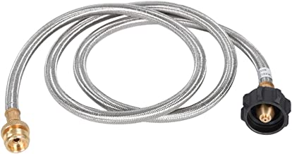 GasSaf 12FT Stainless Braided Propane Adapter Hose 1 lb to 20 lb Converter Replacement for QCC1 / Type1 Tank Connects 1 LB Bulk Portable Appliance to 20 lb Propane Tank - Safety Certified