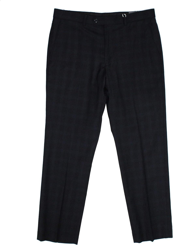 Vince Camuto Mens Dress Pants 36X32 Stretch Plaid Printed Blue 36