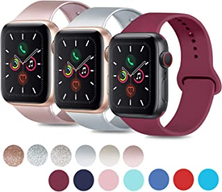 Mugust 3 Pack Sport Bands Compatible with Apple Watch Band 38mm 42mm 40mm 44mm, Soft Silicone Replacement Strap for iWatch Series 5 4 3 2 1