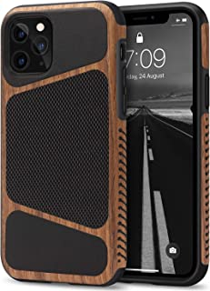 Tasikar Compatible with iPhone 11 Pro Max Case Easy Grip Wood Grain with Nylon Fabric Leather Design Compatible with iPhon...