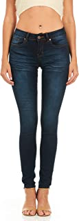 Cover Girl Women's Cute Blue Mid Rise Slim Fit Stretchy Washed Skinny Jeans