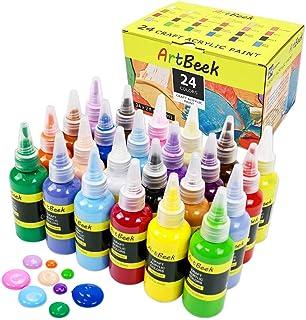ArtBeek Acrylic Paint Acrylic 24 Vivid Colors (60ml, 2oz.) Paint Set Art Craft Paint Rich Pigments for Canvas, Wood, Fabri...