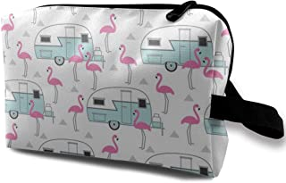 Trailers and flamingos on white Travel Makeup Cute Cosmetic Case Organizer Portable Storage Bag for Women
