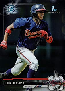 2017 Bowman Chrome Prospects #BCP127 Ronald Acuna Baseball Card - 1st Bowman Chrome Card