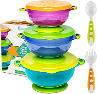 Best Suction Baby Bowls for Toddlers-Toddler Bowls Baby Feeding Set with Baby Utensils | Bonus Baby Spoons and Baby Fork | to Go Baby Bowl with Secure Lids | Suction Plates | BPA Free Suction Bowl