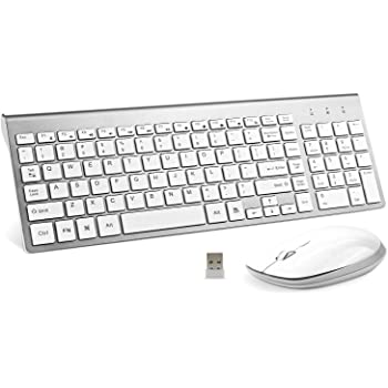 Wireless Keyboard and Mouse Combo, FENIFOX USB Slim 2.4G Full Size Ergonomic Compact with Number Pad for Laptop Mac PC Computer Windows -Silver White